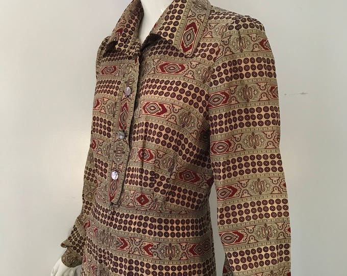 70s JOHN BATES London paisley acetate PEASANT day dress vintage 1970s m-l