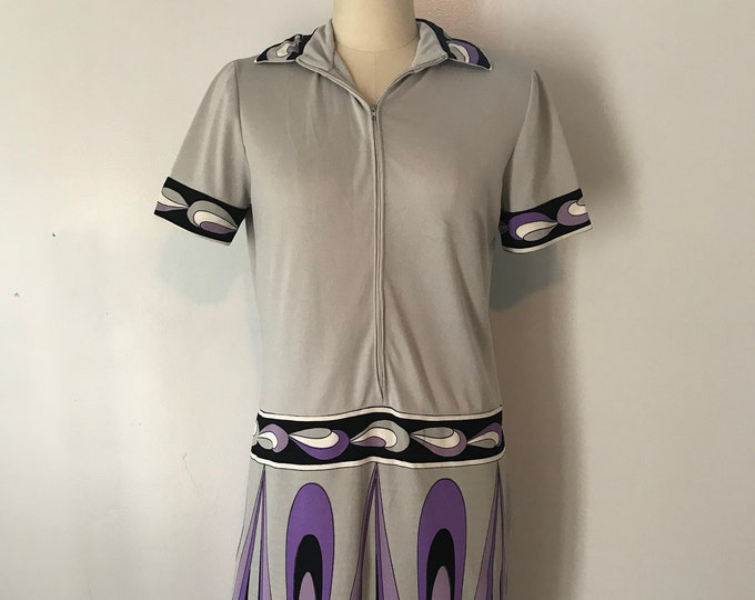60s PAGANNE mod op art signed print poly jersey zipper DRESS vintage 1960s