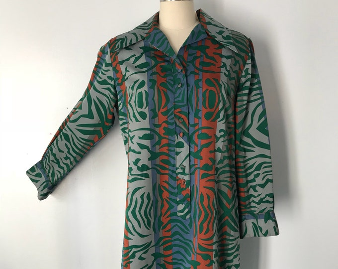 70s LANVIN Paris zebra safari print polished cotton shift DRESS vintage 1970s large L