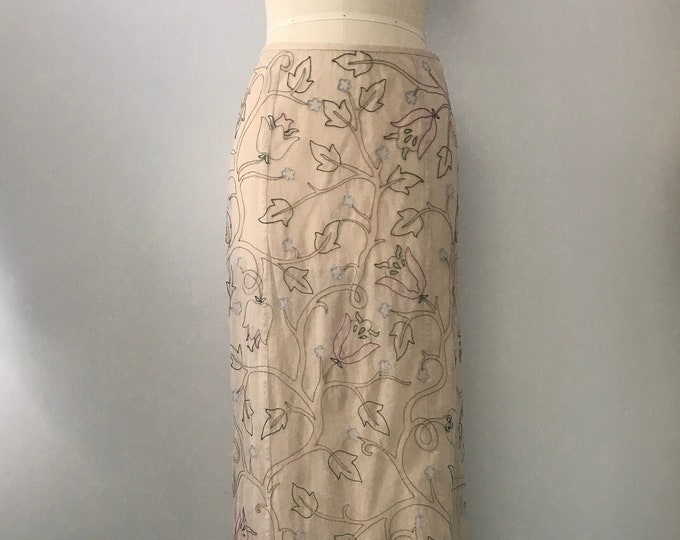 90s PRADA floral embroidered mesh minimalist ankle length snap SKIRT vintage 1990s 40 6