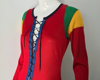 70s ALLEY KAT Betsey Johnson color block lace up jersey DRESS rare vintage 1970s