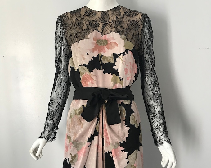80s BILL BLASS blossom floral print silk illusion black lace cocktail DRESS vintage 1980s