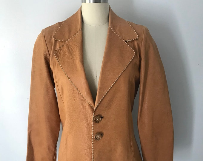70s OSHWAHKON tailored tan stitched leather BLAZER jacket vintage 1970s M