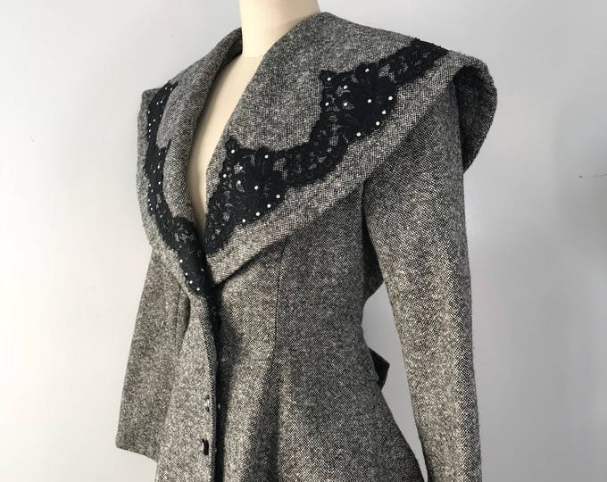 90's PATRICK KELLY black charcoal tweed tailored peplum JACKET blazer vintage 80s 1990s  8