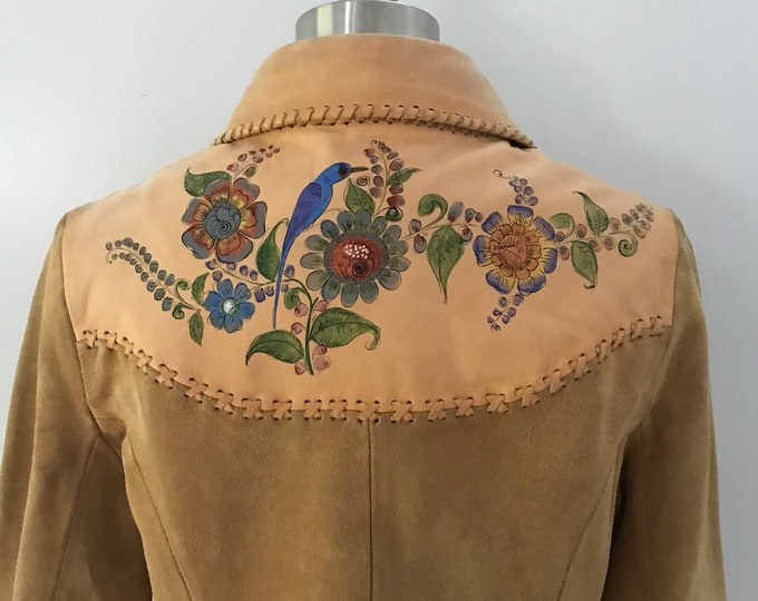 70s CHAR hand painted suede leather whip stitched custom JACKET 14 large vintage 1970s