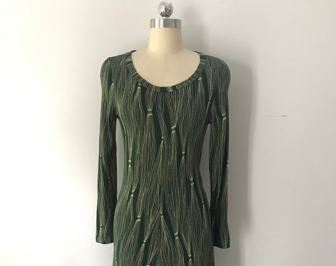 70s DVF diane von furstenberg tassel print green knit DRESS vintage 1970s