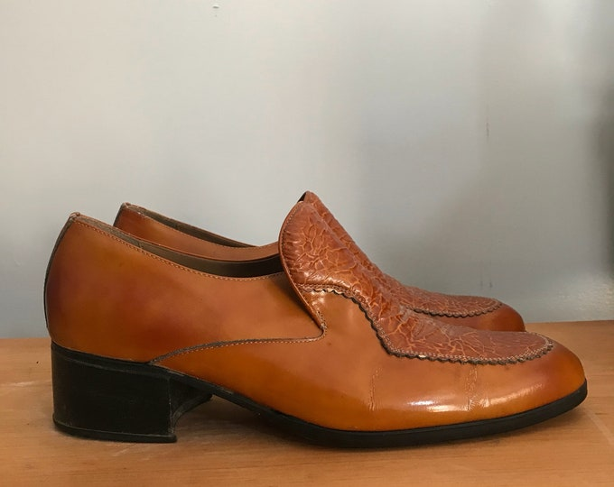 70s STETSON LOAFERS patent butterscotch slip on Disco era lounge MENS shoes 9 vintage 1970s
