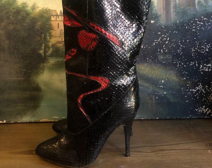 1980s Snakeskin Cherry Boots SZ 8