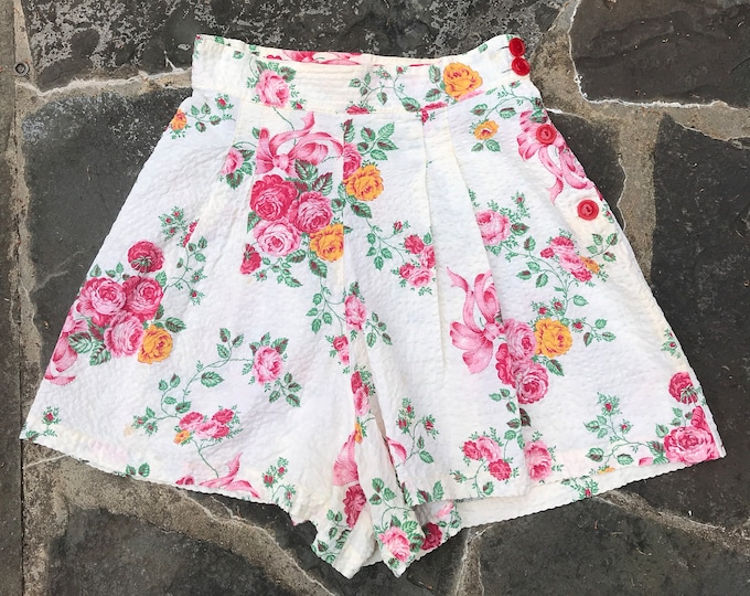 40s PIN UP hi waisted cabbage rose print seersucker play set SHORTS side button vintage 1940s  27