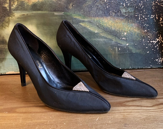 80s YSL black rhinestone shoes size 8 / 1980s vintage Yves Saint Laurent pumps high heels