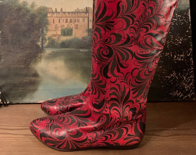 80s PERRY ELLIS Psychedelic Print Knee High Boots SZ 9.5 / 1980s vintage red tall boots