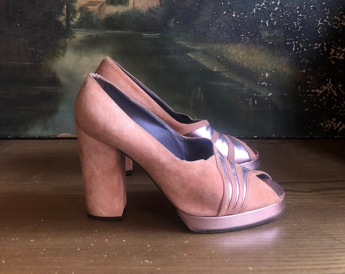 1970s Dusty Rose Suede Platforms SZ 6