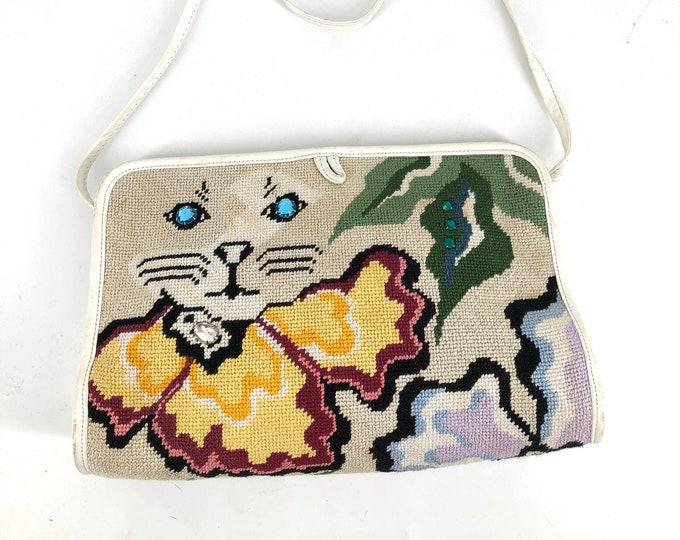 80s MOON BAGS Patricia Smith needlepoint CAT shoulder bag