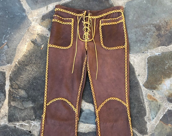 70s custom leather whip stitched brown and tan Woodstock era pants 1970s vintage 30""