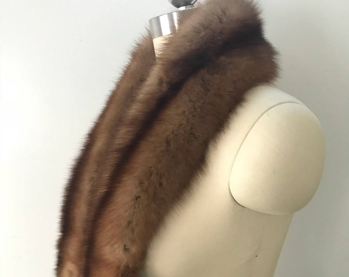 60s REVILLON SABLE FUR scarf stole boa w/ clips vintage 1960s