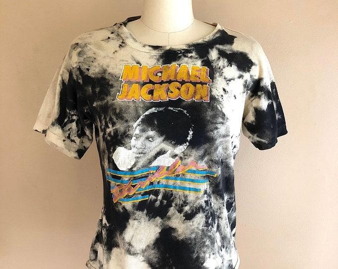 vintage Michael Jackson Thriller bleach dye bootleg T-shirt / 80s screen print graphic band rock shirt soft size M