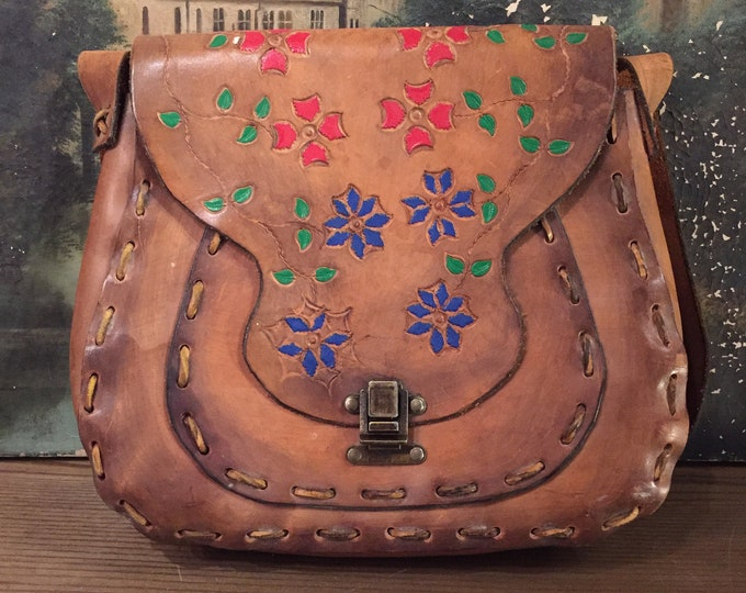 70s Earth Ware Hand Tooled Leather Bag / vintage 1970s Woodstock hippy festival purse shoulder bag  RARE LARGE SIZE