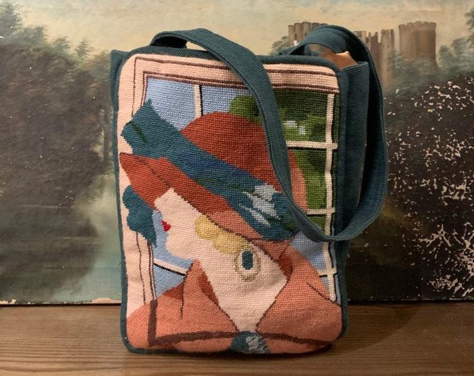 80s Art Deco needlepoint novelty print lady bag / vintage handmade folk art purse 1980s