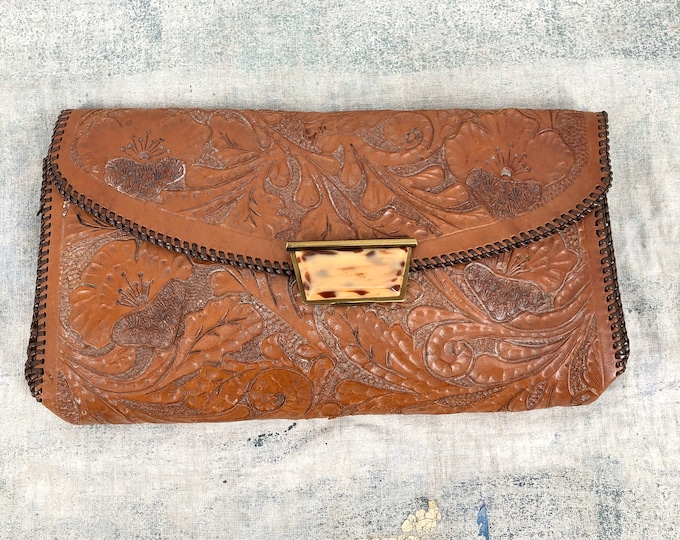 40s western tooled leather clutch purse