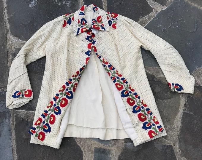 30s ARTS & CRAFTS embroidered cream woven Depression era duster JACKET coat 1930s vintage