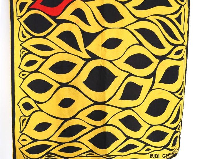 60s silk RUDI GERNREICH yellow print scarf / vintage 1960s designer mod psychedelic logo scarf  30 x 31