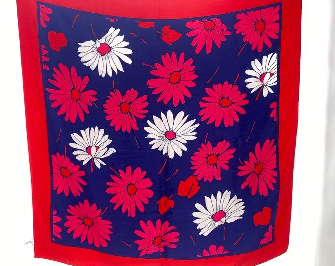 80s CHRISTIAN DIOR silk scarf / vintage 1980s daisy floral print designer scarf France 34 x 35