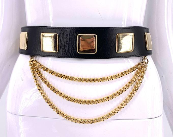 90s black leather studded chain belt S / vintage 1990s gold metal wide belt with chains Emmanuel Canada