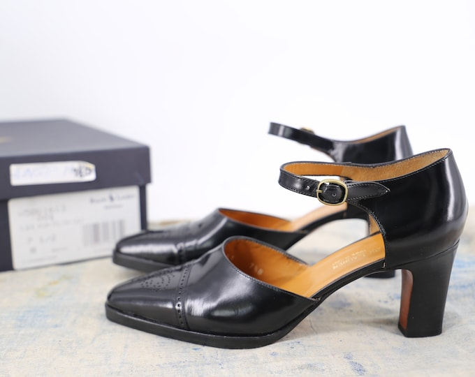 90s Ralph Lauren black Mary Janes 7.5 / vintage 1990s collection wingtip spectators high heels shoes polo 7.5 B