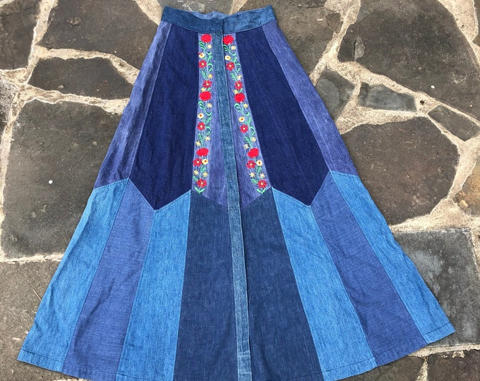 "70s custom denim embroidered pieced maxi skirt / vintage 1970s snap front long skirt Woodstock era 28"" was it / medium"