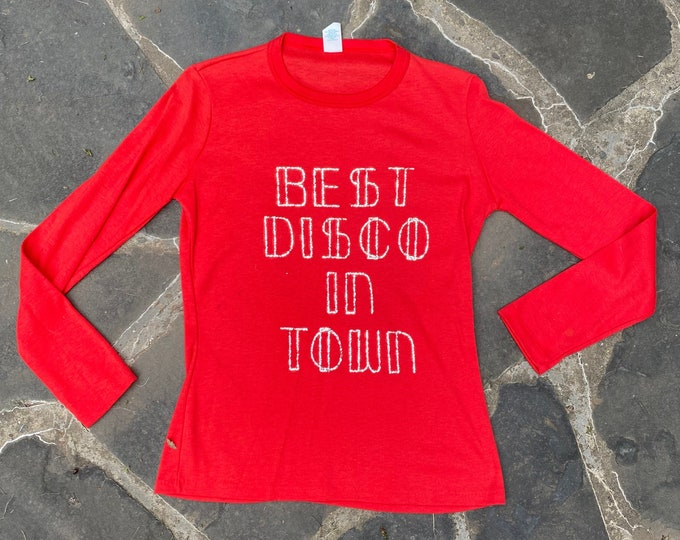 70s vintage DISCO graphic t shirt M / vintage 1970s Novelty fun glitter Best Disco In Town red long sleeve tee shirt