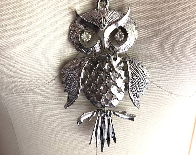 70s silver OWL large pendant necklace / vintage 1970s rhinestone bird statement necklace