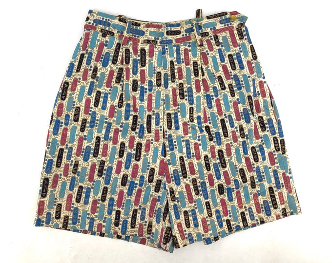 "50s cotton print high waisted shorts 24"" waist / vintage 1950sgold mid century sputnik print pants shorts sz S"