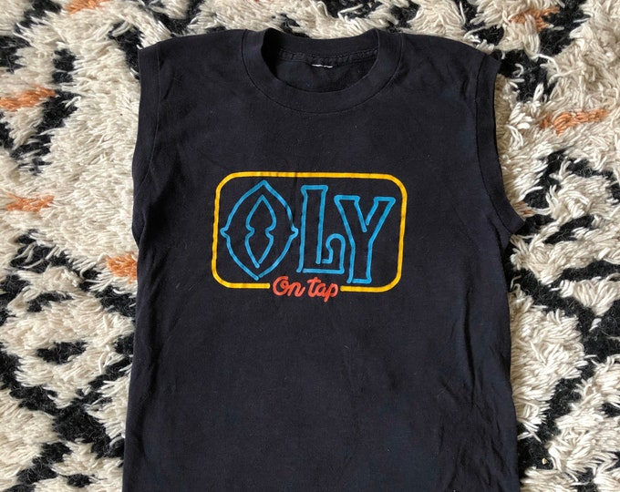 70s OLY On Tap soft black sleeveless Olympia Beer vintage T shirt top 1970s size L