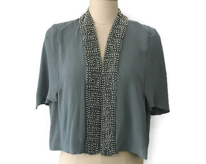 30s GREEK KEY pattern pale blue fluttery silk rayon heavily beaded blouse TOP vintage 1930s Large