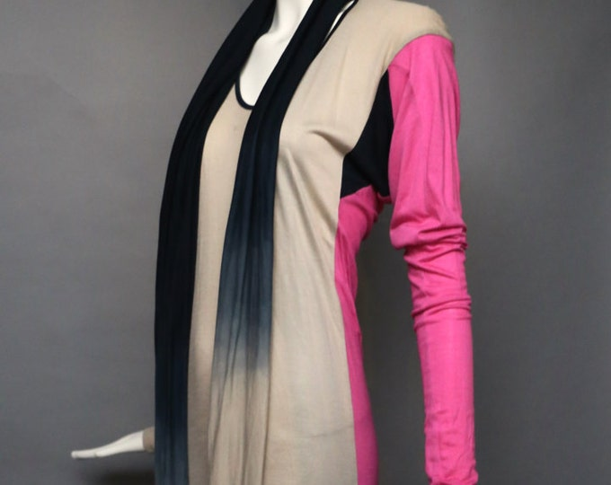 90s VIVIENNE WESTWOOD Anglomania rayon jersey Dip Dye Dress w/ long scarf tie M Nwt