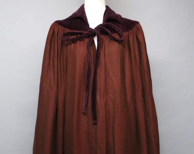 70s YSL Russian Collection Yves Saint Laurent burgandy wool velvet tie neck CAPE 34 4 RARE vintage 1970s
