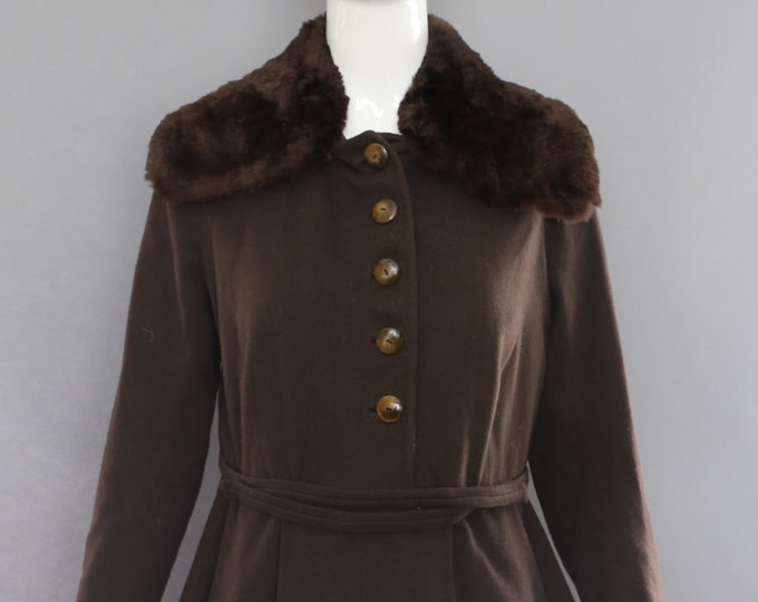 20s post WWI fur trim deco brown wool military inspired dress JACKET vintage 1920s 1900s
