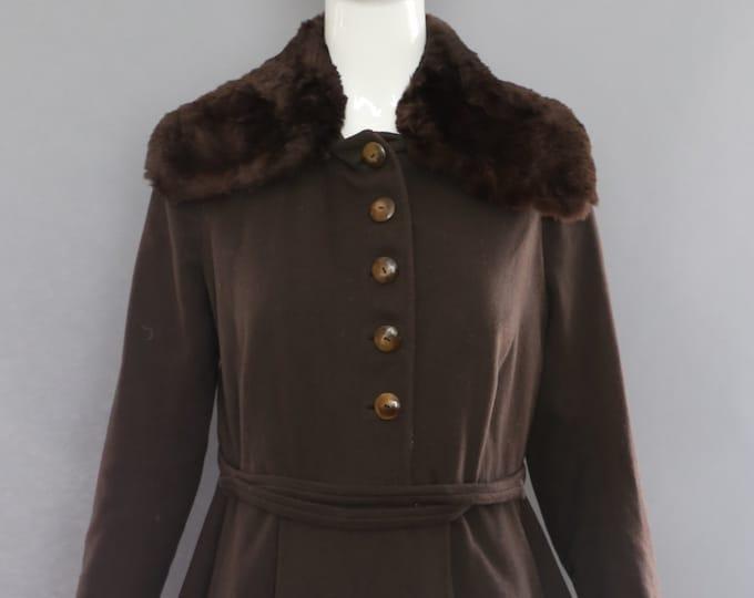 20s post WWI fur trim deco brown wool military inspired dress JACKET vintage 1920s 1900s