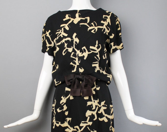 Vintage 1960s HARVEY BERIN rayon silk crepe japanese asian inspired abstract print cocktail wiggle DRESS  4