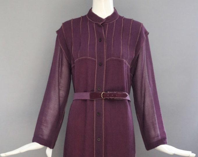 70s GEOFFREY BEENE crinkle wool crepe plum belted elegant ladylike shift DRESS vintage 1970s 6-8