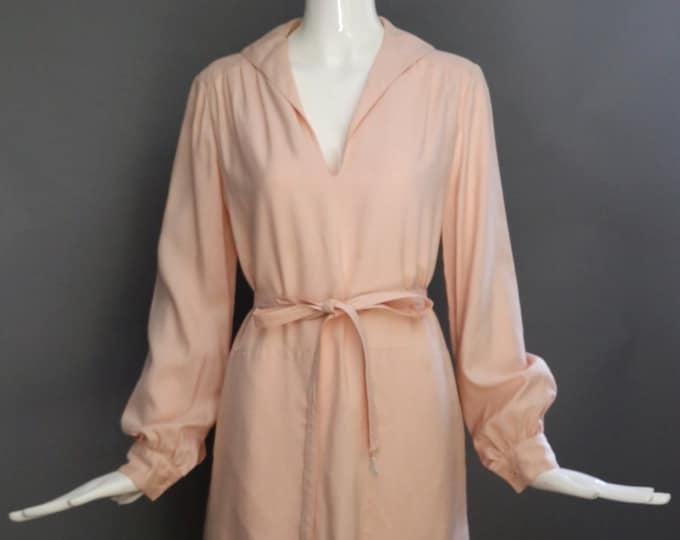 60s GEOFFREY BEENE pale pink silk minimal deep pocket feminine shirt dress self belt vintage 1960s designer