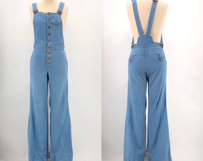 70s denim bell bottom overalls / vintage 1970s jean jumpsuit flared bottoms button up front size 8