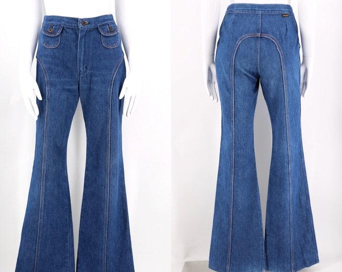 70s Wrangler denim bell bottoms jeans / vintage 1970s horseshoe stitched saddle stitched flares pants