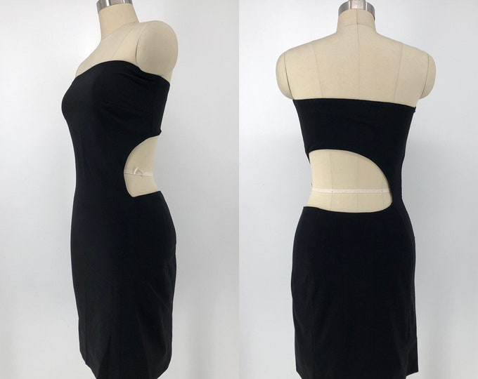 90s GIANNI VERSACE deep cut out strapless mini dress size 4-6 vintage 1990s