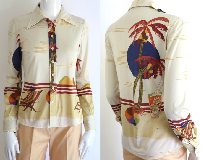 70s Wayne Rogers  NOVELTY PRINT nylon shirt / vintage 1970s button down summer scene tight fit disco top sz 9/10 - US 6