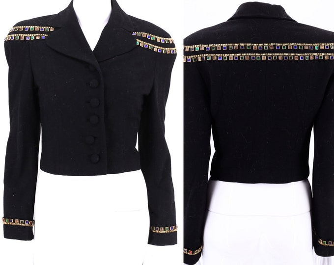 40s JEWELED strong shoulder jacket  / vintage 1940s black wool WWII era tailored rhinestone blazer M / 6