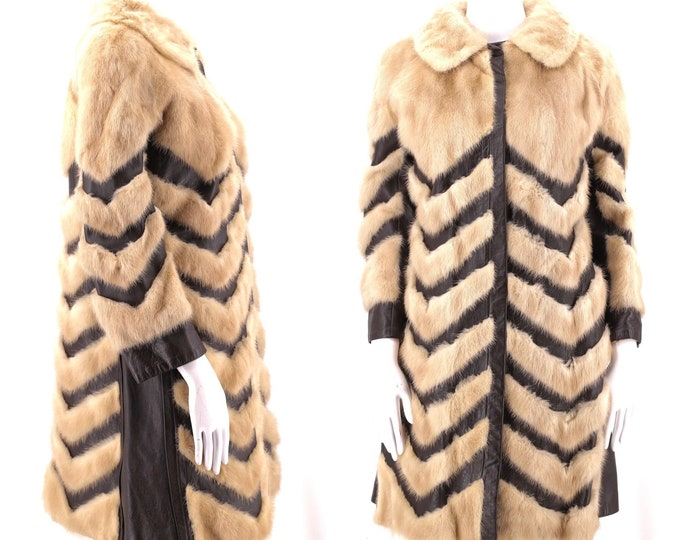 70s mink leather chevron fur coat / vintage 1970s tan mink brown leather SNAP FRONT disco glam pieced fur coat jacket M