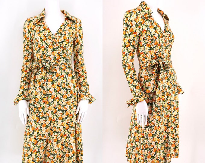 70s DVF floral print classic wrap dress 4 / 1970s vintage Diane Von Furstenberg yellow green sash tie dress size 4