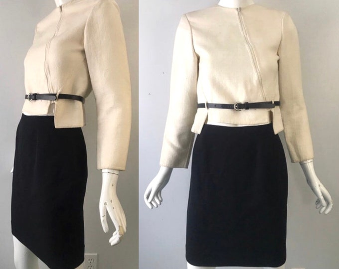 90s GEOFFREY BEENE suit / minimal assymetrical black white skirt SUIT blazer 1990s vintage 4