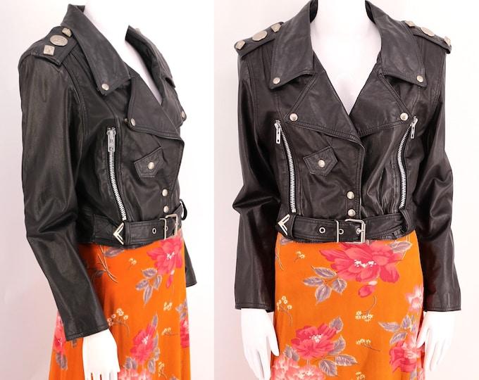 vintage black biker jacket sz M / 1980s womens leather motorcycle jacket BB DAKOTA studded